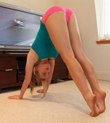 sexy blonde teen doing her yoga